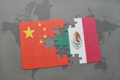 Puzzle with the national flag of china and mexico on a world map background. 3D illustration Royalty Free Stock Images