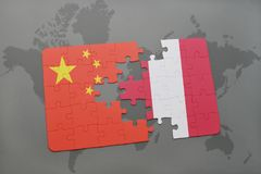 Puzzle with the national flag of china and peru on a world map background. 3D illustration stock images