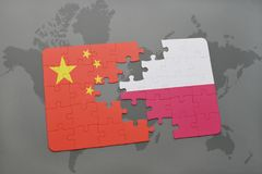 Puzzle with the national flag of china and poland on a world map background. 3D illustration royalty free stock photos