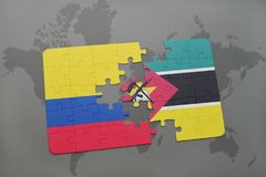 Puzzle with the national flag of colombia and mozambique on a world map. Background. 3D illustration Stock Photo