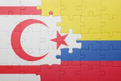 Puzzle with the national flag of colombia and northern cyprus Royalty Free Stock Image