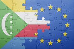 Puzzle with the national flag of comoros and european union Stock Images