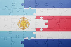 Puzzle with the national flag of costa rica and argentina Stock Photo