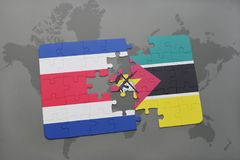 Puzzle with the national flag of costa rica and mozambique on a world map. Background. 3D illustration Royalty Free Stock Photo
