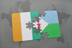 Puzzle with the national flag of cote divoire and djibouti on a world map. Background. 3D illustration Stock Photo