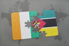 Puzzle with the national flag of cote divoire and mozambique on a world map. Background. 3D illustration Stock Photo