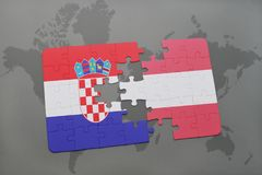 Puzzle with the national flag of croatia and austria on a world map background. 3D illustration Royalty Free Stock Photo