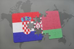 puzzle with the national flag of croatia and belarus on a world map background. Stock Photos