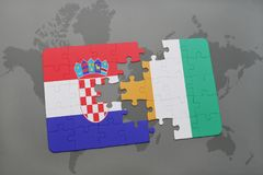 Puzzle with the national flag of croatia and cote divoire on a world map. Background. 3D illustration Stock Image