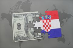 Puzzle with the national flag of croatia and dollar banknote on a world map background. 3D illustration Royalty Free Stock Image