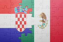 Puzzle with the national flag of croatia and mexico. Concept royalty free stock photos