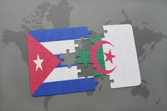 Puzzle with the national flag of cuba and algeria on a world map background. 3D illustration royalty free stock image