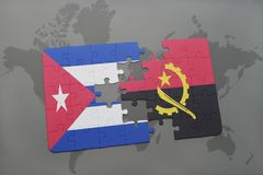 Puzzle with the national flag of cuba and angola on a world map background. 3D illustration royalty free stock image
