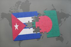 Puzzle with the national flag of cuba and bangladesh on a world map background. 3D illustration royalty free stock photography