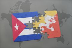 Puzzle with the national flag of cuba and bhutan on a world map background. 3D illustration royalty free stock photography