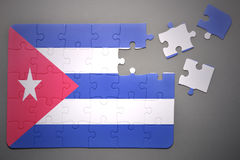 Puzzle with the national flag of cuba Stock Images