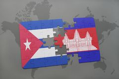 Puzzle with the national flag of cuba and cambodia on a world map background. 3D illustration stock images