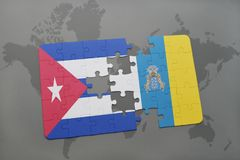 Puzzle with the national flag of cuba and canary islands on a world map background. 3D illustration Royalty Free Stock Photo