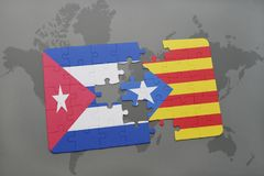 Puzzle with the national flag of cuba and catalonia on a world map background. 3D illustration royalty free stock photo