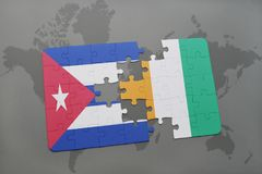 Puzzle with the national flag of cuba and cote divoire on a world map background. 3D illustration Stock Image