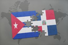 Puzzle with the national flag of cuba and dominican republic on a world map background. 3D illustration royalty free stock photos