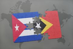 Puzzle with the national flag of cuba and east timor on a world map background. 3D illustration royalty free stock photos