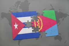 Puzzle with the national flag of cuba and eritrea on a world map background. 3D illustration stock images