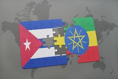 Puzzle with the national flag of cuba and ethiopia on a world map background. Puzzle with the national flag of cuba and ethiopiaon a world map background. 3D royalty free stock photo