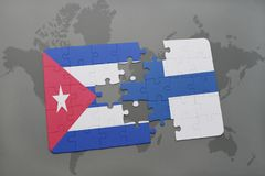 Puzzle with the national flag of cuba and finland on a world map background. Stock Images