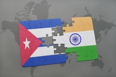 Puzzle with the national flag of cuba and india on a world map background. 3D illustration stock photos