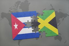 Puzzle with the national flag of cuba and jamaica on a world map background. 3D illustration stock image