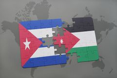 Puzzle with the national flag of cuba and jordan on a world map background. 3D illustration stock images