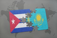 Puzzle with the national flag of cuba and kazakhstan on a world map background. 3D illustration stock photos