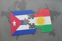 Puzzle with the national flag of cuba and kurdistan on a world map background. 3D illustration stock photo