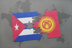Puzzle with the national flag of cuba and kyrgyzstan on a world map background. 3D illustration stock image