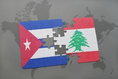 Puzzle with the national flag of cuba and lebanon on a world map background. 3D illustration royalty free stock photography