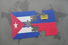 Puzzle with the national flag of cuba and liechtenstein on a world map background. Stock Photography