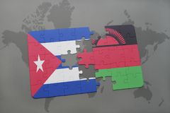 Puzzle with the national flag of cuba and malawi on a world map background. 3D illustration stock photography