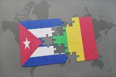 Puzzle with the national flag of cuba and mali on a world map background. Royalty Free Stock Photos