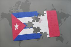 Puzzle with the national flag of cuba and malta on a world map background. Royalty Free Stock Photos
