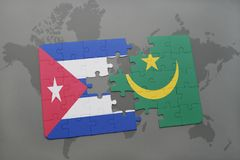 Puzzle with the national flag of cuba and mauritania on a world map background. 3D illustration royalty free stock photography
