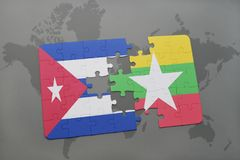 Puzzle with the national flag of cuba and myanmar on a world map background. 3D illustration stock photo