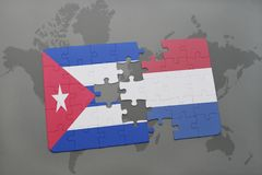 Puzzle with the national flag of cuba and netherlands on a world map background. 3D illustration royalty free stock images