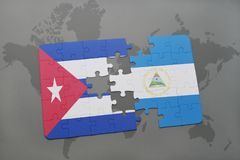 Puzzle with the national flag of cuba and nicaragua on a world map background. 3D illustration royalty free stock photography