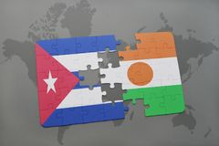 Puzzle with the national flag of cuba and niger on a world map background. 3D illustration royalty free stock photography