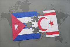 Puzzle with the national flag of cuba and northern cyprus on a world map background. 3D illustration royalty free stock photos