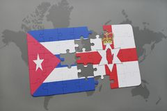 Puzzle with the national flag of cuba and northern ireland on a world map background. 3D illustration Royalty Free Stock Image