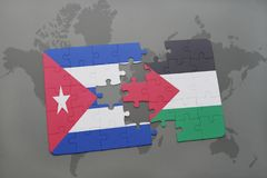 Puzzle with the national flag of cuba and palestine on a world map background. 3D illustration stock photography