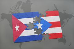 Puzzle with the national flag of cuba and puerto rico on a world map background. 3D illustration stock images