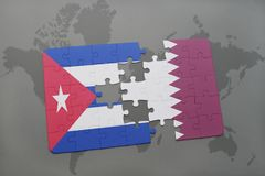 Puzzle with the national flag of cuba and qatar on a world map background. 3D illustration stock image